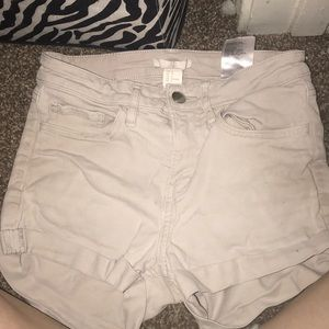 Khaki H&M high waisted shorts.